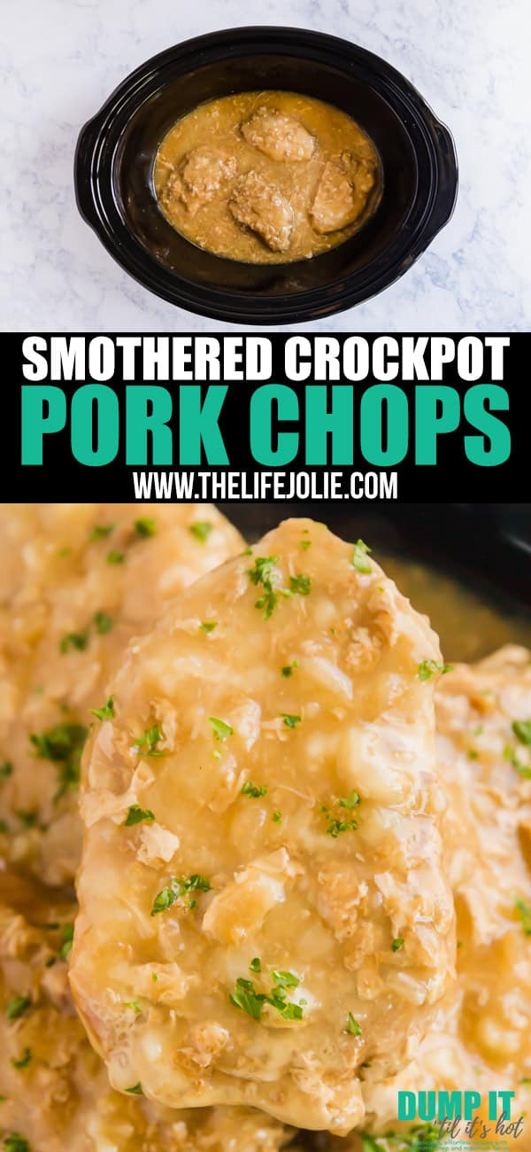 Say goodbye to dry and tough pork chops: these Smothered Crock Pot Pork Chops are the ultimate fall-apart tender comfort food. With just 4 ingredients, this easy dinner will be your new go-to dump dinner!