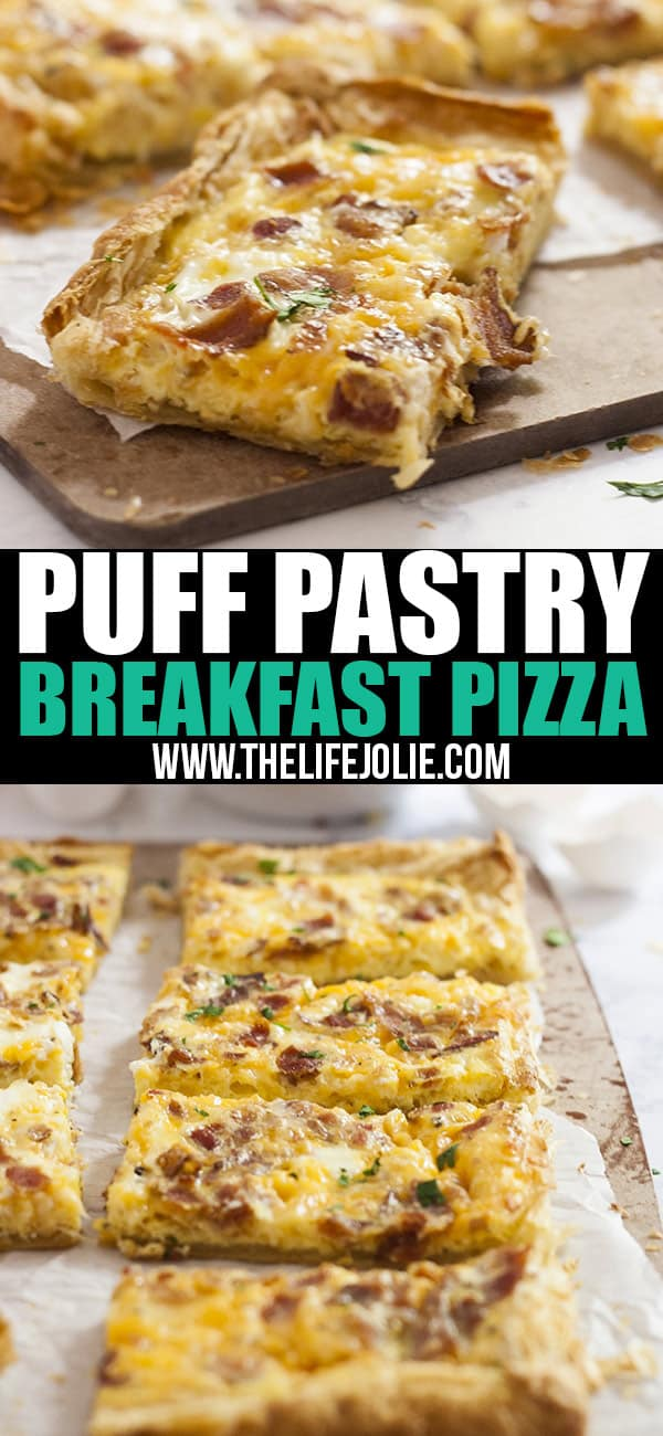This Puff Pastry Breakfast Pizza recipe is super easy and fast. You can put whatever toppings on it, but I love it with bacon, eggs and cheese. This is great for brunch, Christmas morning or a nice, relaxing weekend breakfast!