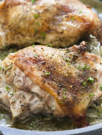 Not cooking for a crowd this Thanksgiving? No problem, I've got you! These Roast Turkey Thighs for Two are a mouthwatering, tender turkey dinner without the hassle of roasting a whole bird!