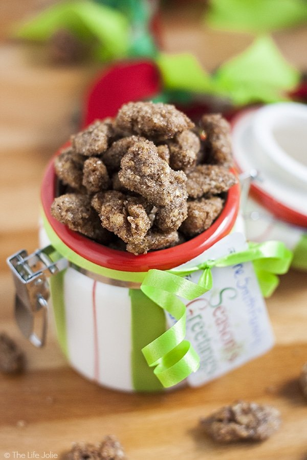 This Candied Pecans recipe is the best I've tasted! A few simple ingredients like brown sugar, granulated sugar, cinnamon, salt, vanilla and egg and then it's as easy as letting the oven do it's magic. These make a tasty snack, or salad topped and are excellent holiday gifts!
