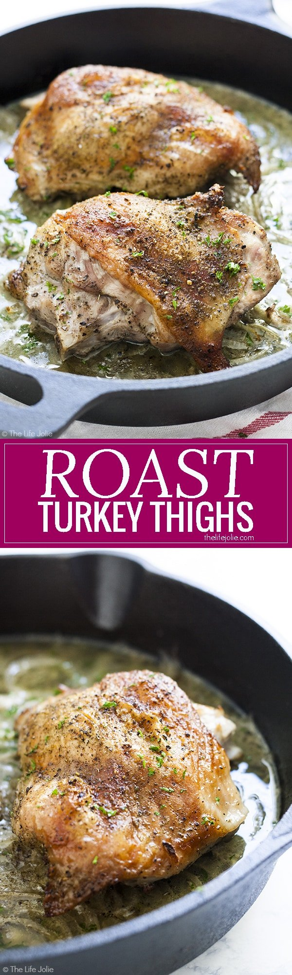 Roast Turkey Thighs for Two is one of my favorite turkey meat recipes. This easy and healthy turkey dish is a great option for tender roasted turkey with crispy skin and minimal dishes for you to wash! This includes simple directions for how to cook this dish- it makes a great alternative for Thanksgiving if you don't want to cook a whole turkey and is also great for other holiday dinners or simple weeknight dinners!