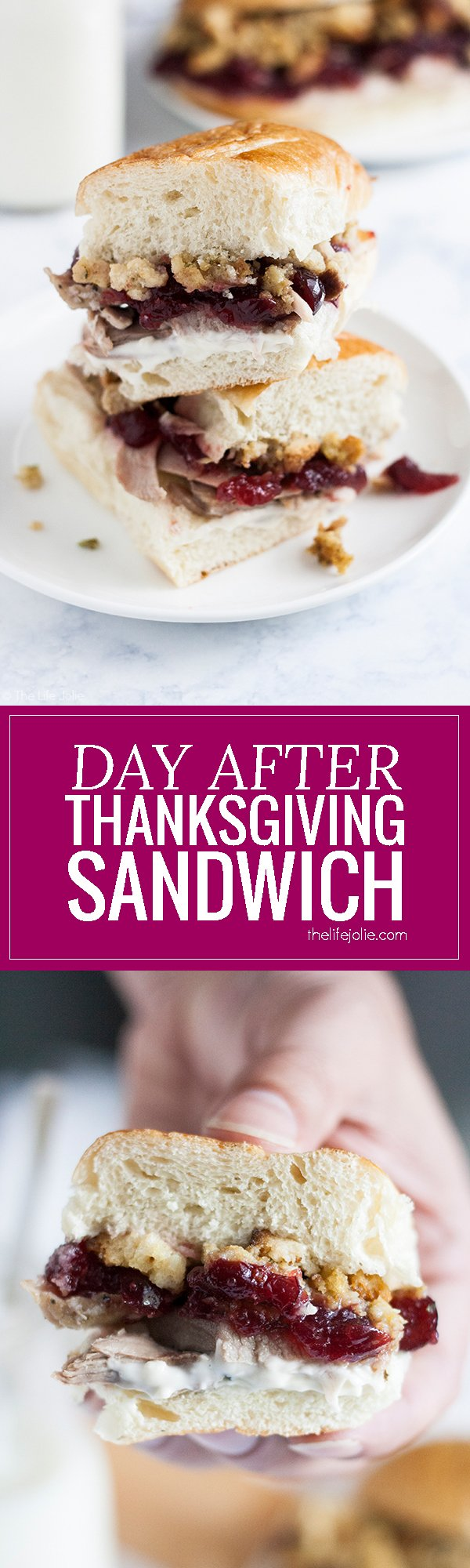 This Day After Thanksgiving Sandwich is one of my favorite recipes to enjoy leftovers! Tender turkey, sandwiched between halves of your favorite bun with tangy cranberry sauce, savory stuffing and mayonnaise. I love enjoying this for lunches or dinners around the holidays!