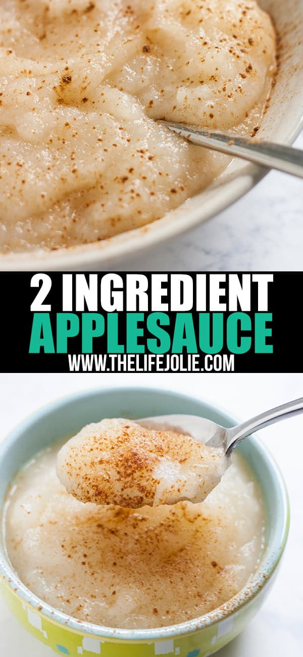 This homemade 2 Ingredient Applesauce is one of quickest and most easy recipes ever! There is no added sugar which makes it super healthy and there are a ton of great ways you can use it.