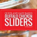 These Quick and Easy Baked Buffalo Chicken Sliders are one of my favorite game day recipes! They come together lightning fast in the oven with a few simple ingredients like shredded chicken, ranch, buffalo sauce, mozzarella cheese and buns. They are the best appetizer to bring to any party!!
