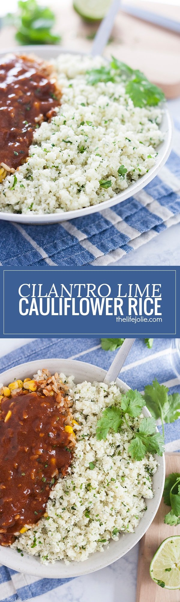 Cilantro Lime Cauliflower Rice is such an easy, low carb side dish. With cauliflower, garlic, cilantro and lime juice it cooks up really quickly and tastes especially great with Mexican food. This is definitely one of my new favorite healthy recipes!