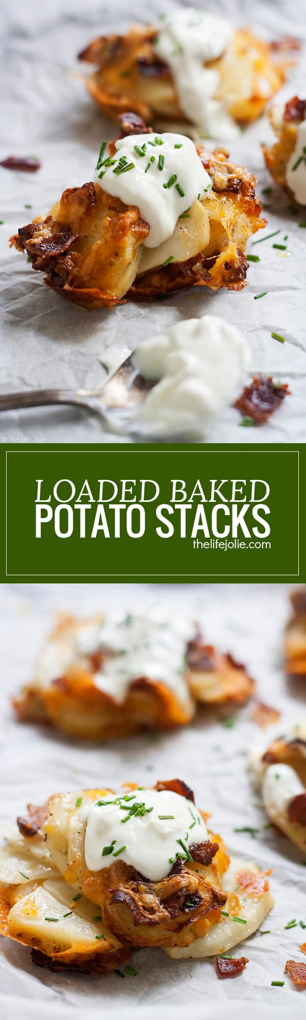 This Loaded Baked Potato Stacks recipe is such an easy side dish for a weeknight dinner. Thin slices of potato, seasoned and stacked in the cups of a muffin tin and baked in the oven; these are a tasty addition to any meal and they also make a delicious game day appetizer!