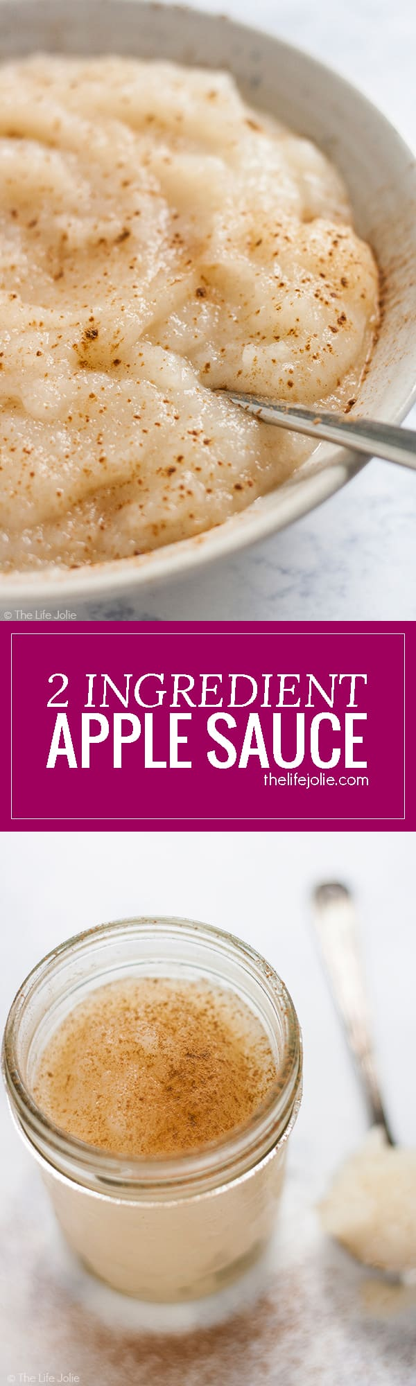 This homemade 2 Ingredient Applesauce is one of quickest and most easy recipes ever! The is no sugar added which makes it super healthy and it has plenty of uses! My whole family loves it!