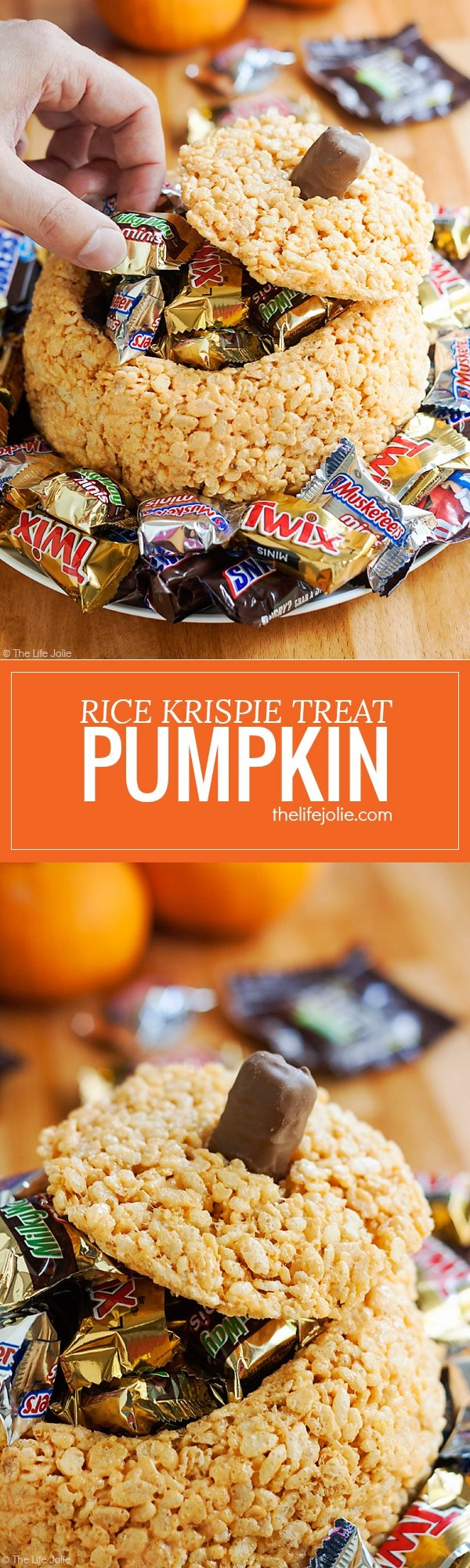 This Rice Krispie Treat Pumpkin is the perfect addition to your holiday table. It's an easy, kid friendly dessert that looks awesome filled with candy and is so much fun for a Halloween party or Thanksgiving!