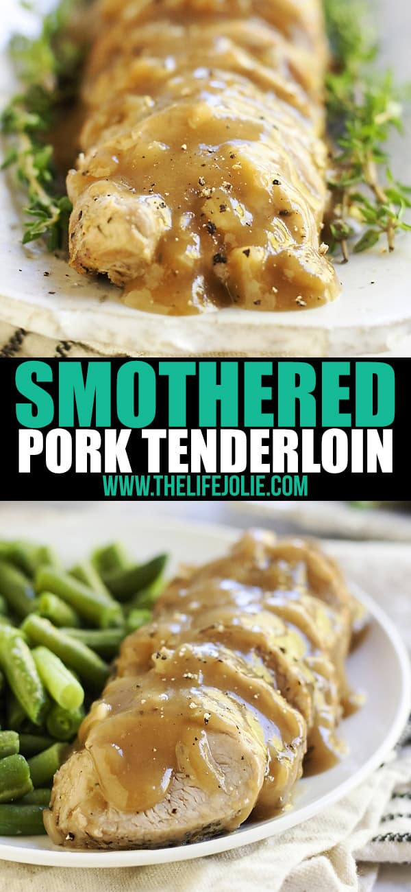 This Smothered Pork Tenderloin in Apple Cider Gravy is the best meaty main dish for dinner. It's special enough for an intimate dinner party but also makes a quick and cozy weeknight meal! This recipe is so easy but tastes fantastic and comes together pretty quickly!