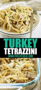 This easy Turkey Tetrazzini is a classic family recipe! This is the best way to use leftover Turkey from Thanksgiving but is also great made as Chicken Tetrazzini. It's creamy but still light and delicious- the ultimate comfort food!