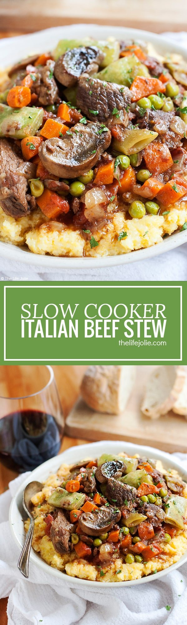 This Slow Cooker Italian Beef Stew recipe is one of my favorite easy comfort food meals. With tender meat, vegetables, tomatoes (and a little bit of wine for good measure!) this tastes fantastic served over potatoes, pasta or polenta with a nice, crusty piece of bread!