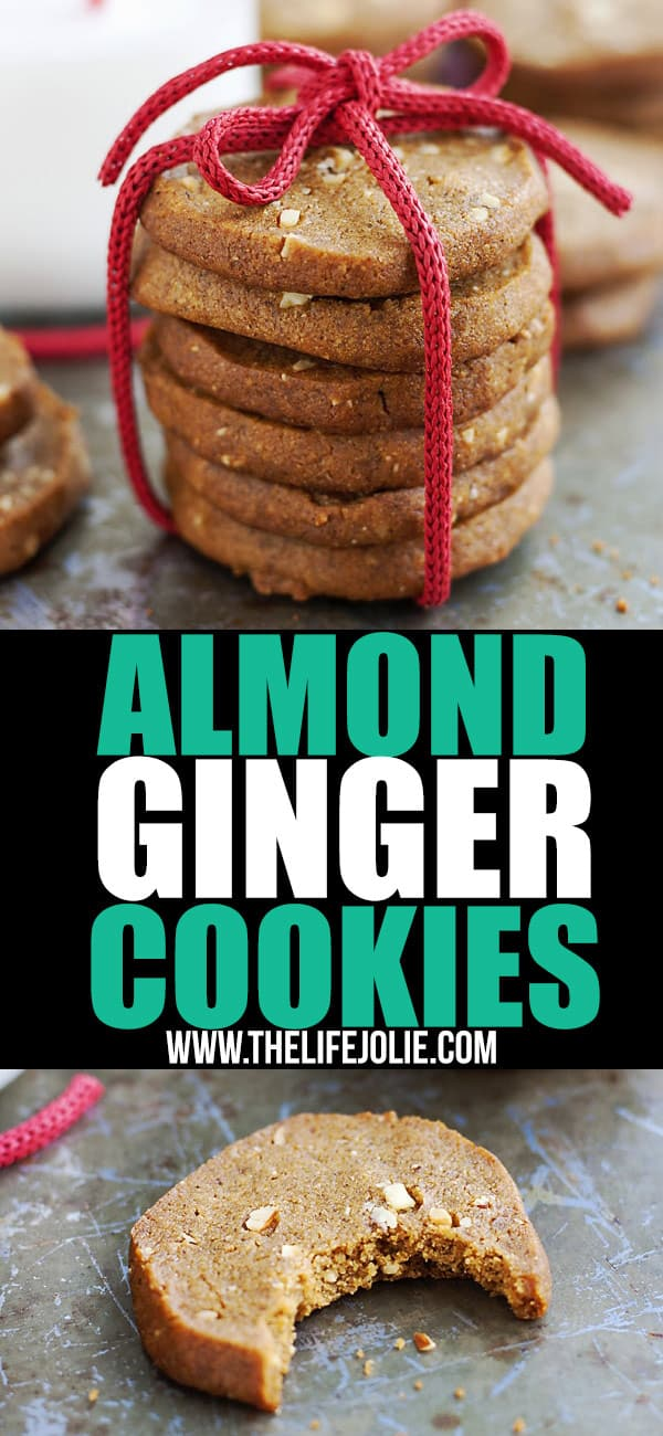 These Almond Ginger Cookies are such an easy dessert to make! This crispy cookie is the best slice-and-bake option if you're looking for a spicy cookie that is that isn't overly sweet. They're great for Christmas!