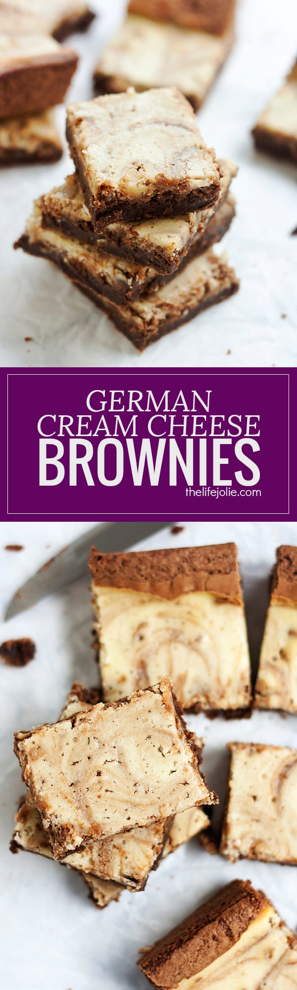 These homemade German Cream Cheese Brownies are a delicious addition to any holiday cookie platter. This recipe is made from scratch but SO easy! Rich chocolate brownies swirled with sweet cream cheese helps make this a decadent treat your family will love!