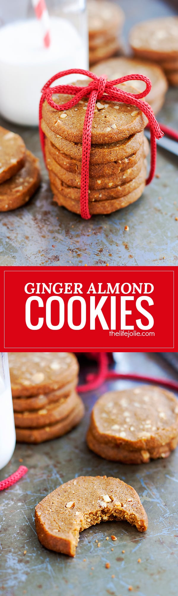 These Ginger Almond Cookies are such easy Christmas cookies to make! This crispy cookie is the best slice-and-bake option if you're looking for a spicy cookie that is that isn't overly sweet.