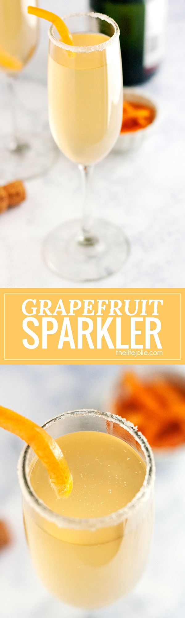 This Grapefruit Sparkler is a festive champagne cocktail! I love adult beverages featuring sparkling wine and this is simple to make and refreshing to drink at brunch or to ring in the New Year. This pretty drink will be a mainstay at your next girls night