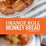 Orange Cinnamon Roll Monkey Bread is an easy and delicious twist on a family favorite recipe. Made with Pillsbury Orange Cinnamon Rolls, orange just and zest, butter and sugar, this pull apart bread can totally be made ahead and is perfect to enjoy at brunch or any family gathering!