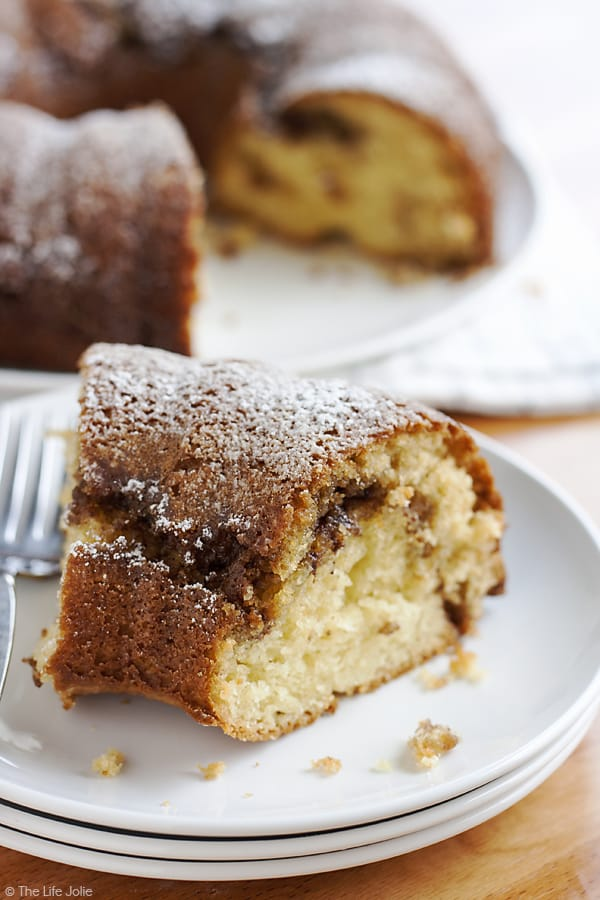 This Sour Cream Coffee Cake is such an easy cake to make from scratch. This is a family recipe that has been passed down for years and is moist and delicious but also simple to put together. This is the best excuse to eat cake for breakfast and is a great holiday dessert as well (Christmas morning, anyone?!).