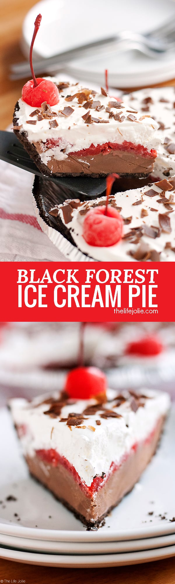 "This Black Forest Ice Cream Pie is a quick and easy no bake dessert recipe. Made with an Oreo Cookie crust, chocolate ice cream, maraschino cherries and whipped topping this pie is a pretty addition to any dessert table! It's perfect for the holidays or to keep in the freezer ""just because""!"