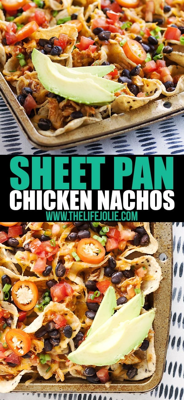 These Sheet Pan Chicken Nachos are an easy and delicious game day snack recipe! They are so simple to put together and bake up in the oven with tortilla chips, leftover taco meat, plenty of cheese and all sorts of other great toppings! You've got to try these!