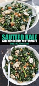 SautéedKale with Mushrooms and Tomatoes is the best healthy side dish. It whips up super quickly and easily and tastes fantastic! This also makes a satisfying vegetable main dish.