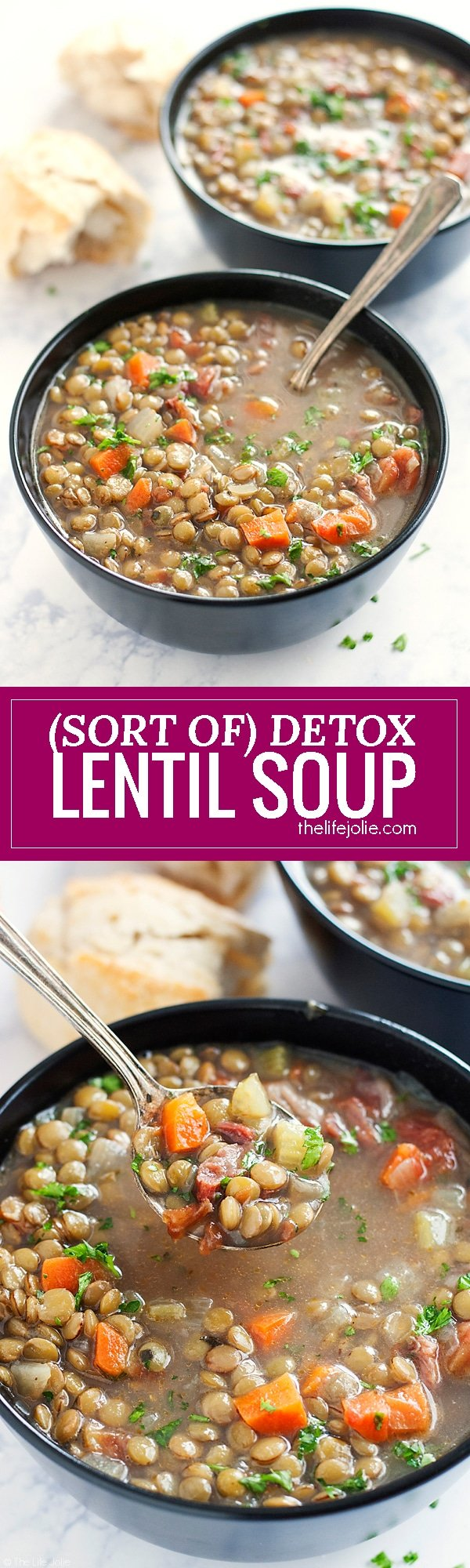 This (Sort of) Detox Lentil Soup is a very easy recipe. It's healthy while still maintaining great taste and full of delicious lentils, protein and savory ham hocks for a smoky flavor!