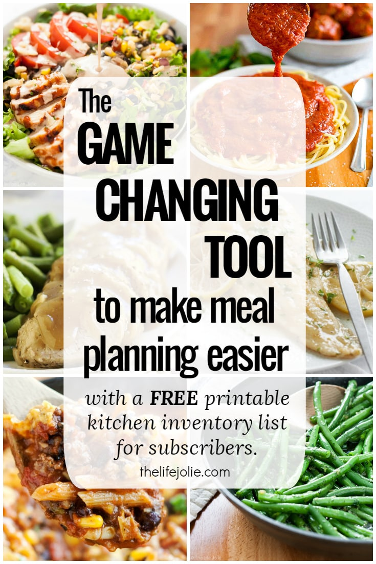 I want to share a game changing tool to make meal planning easier! Planning your meals for the week is a great way to streamline the process, save money and give yourself more time with your family- but it doesn't have to be hard! Check out the tool that changed everything for me and get a printable kitchen inventory list (free to subscribers!).