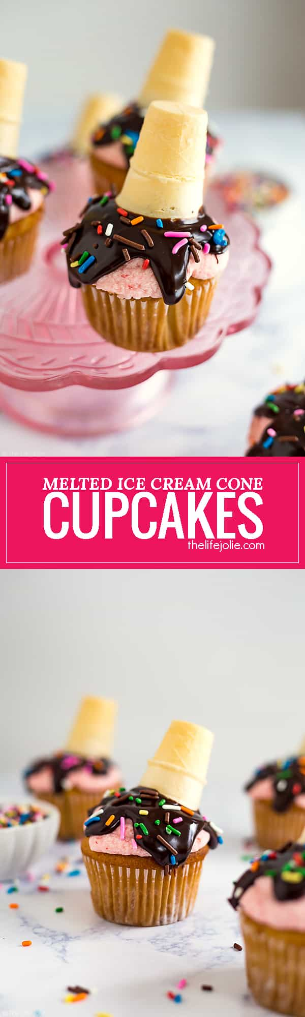 These Melted Ice Cream Cone Cupcakes are such a fun and easy dessert recipe. This tutorial is a delicious combination of moist vanilla cupcakes, strawberry frosting, chocolate and sprinkles! They are perfect to serve at your next party!