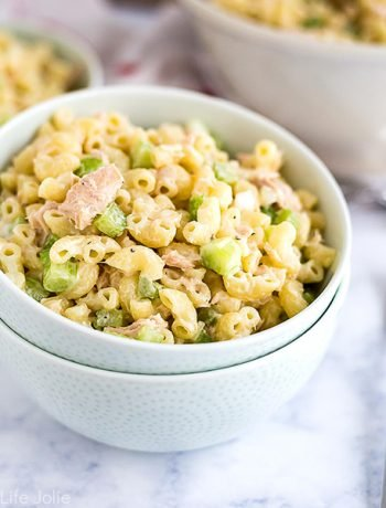 This classic Tuna Macaroni Salad recipe is the best cold salad to make for your next spring or summer picnic. It's such an easy side dish to throw together with simple ingredients like tuna, pasta, celery and mayonnaise and is full of fresh and delicious flavor!