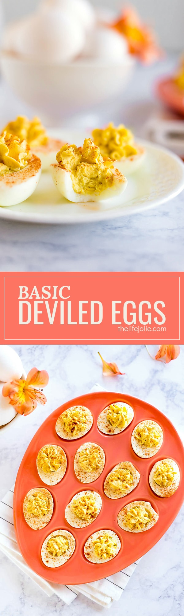 Here's an easy tutorial for how to make Basic Deviled Eggs. This recipe is the best simple method to make this classic, delicious appetizer. These are a great way to use up extra Easter eggs and are perfect to bring to a picnic or get-together!