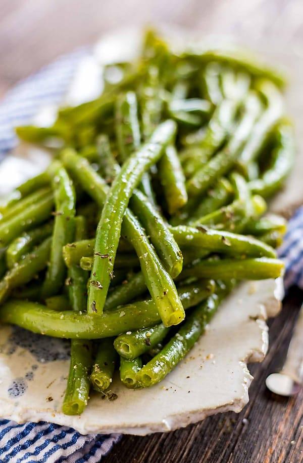 A close up shot of Green Bean Salad.