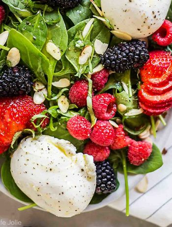A square shot of the Summer Berry and Burrata Salad.