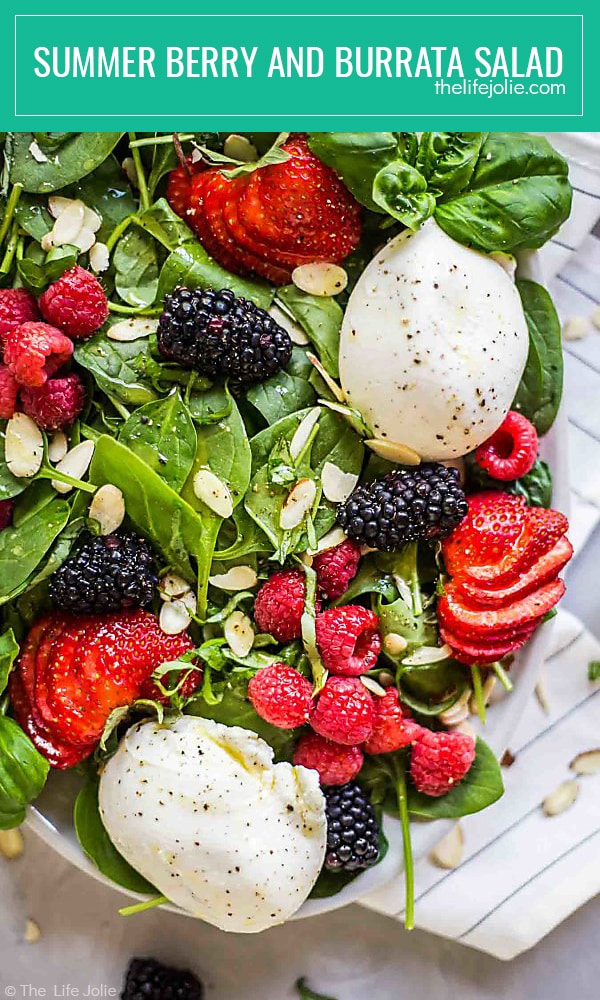 Summer Berry and Burrata Salad is a healthy and delicious recipe. It's easy to make with baby spinach, berries, sliced almonds and creamy Burrata cheese with a homemade honey vinaigrette. This makes a festive side for entertaining guests or a great main dish on a hot summer night when you don't want to cook!Summer Berry and Burrata Salad is a healthy and delicious recipe. It's easy to make with baby spinach, berries, sliced almonds and creamy Burrata cheese with a homemade honey vinaigrette. This makes a festive side for entertaining guests or a great main dish on a hot summer night when you don't want to cook!