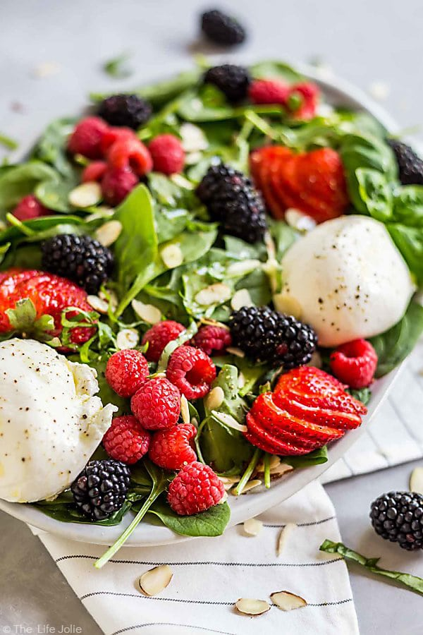 This Summer Berry and Burrata Salad is perfect for a hot summer night.