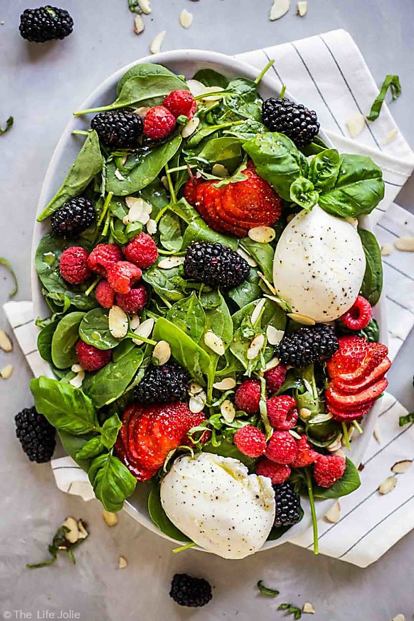 Overhead shot of the whole Summer Berry and Burrata Salad.