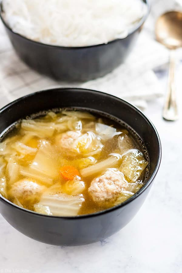 This Cabbage and Pork Meatball soup will warm you right up!