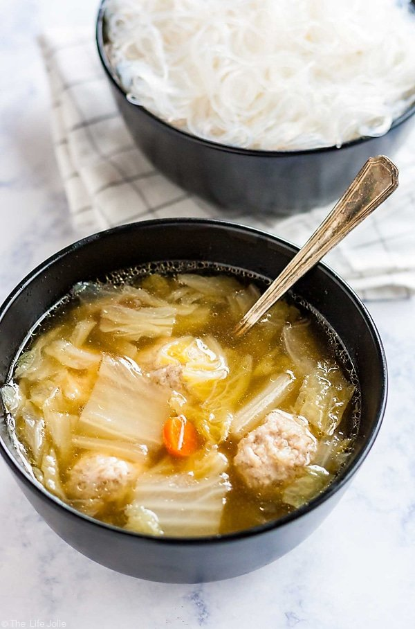 A cozy bowl of Pork and Cabbage Meatball Soup