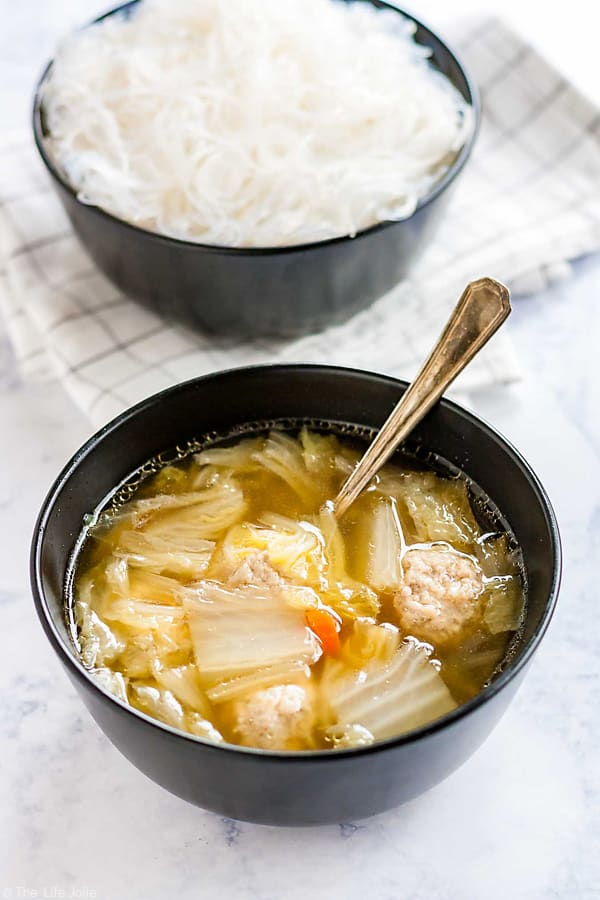 Cabbage and Pork Meatball Soup with glass noodles.