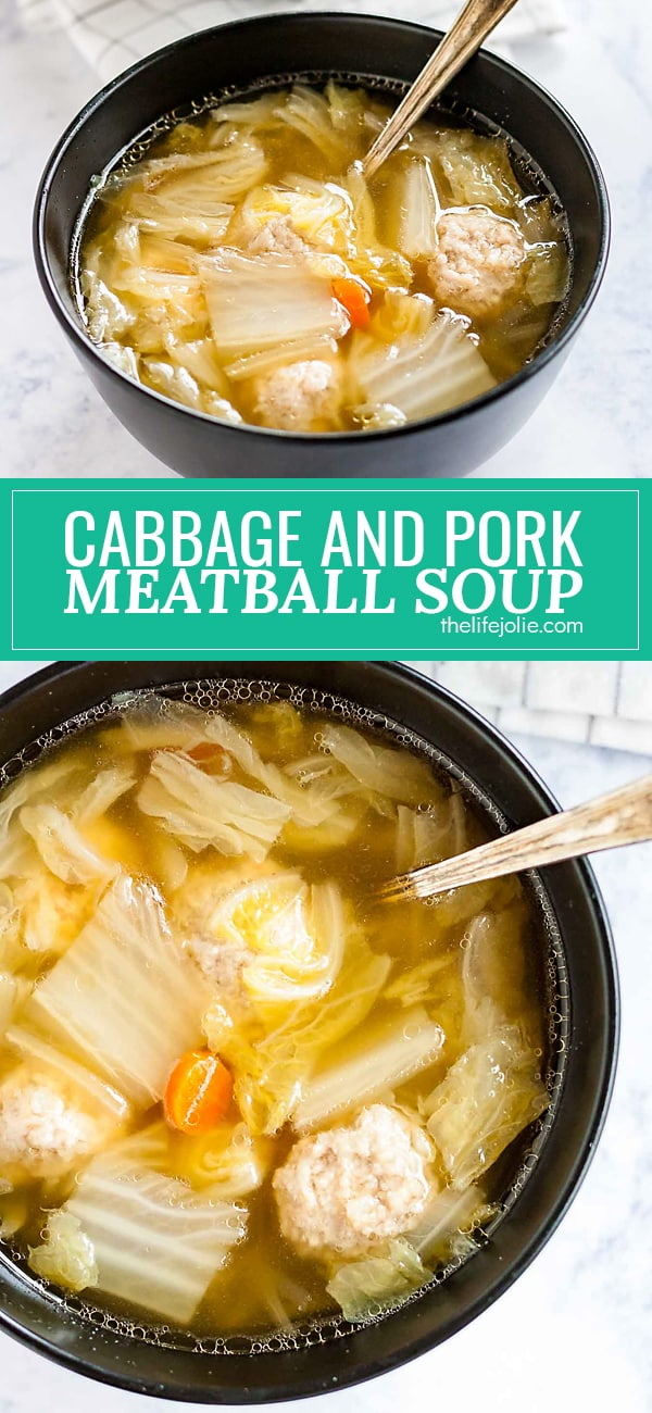 This Cabbage and Pork Meatball Soup is easy to make and full of great umami flavor! It's an Asian-inspired recipe that whips up pretty quickly and with savory, mouthwatering flavor!
