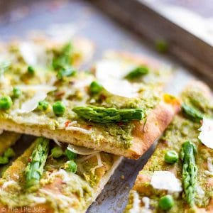 A square image of Pea Pesto Flatbread