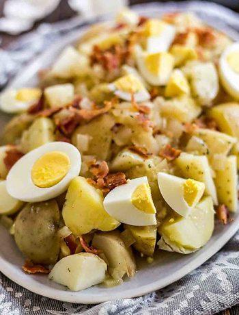 A square photo of German Potato Salad.
