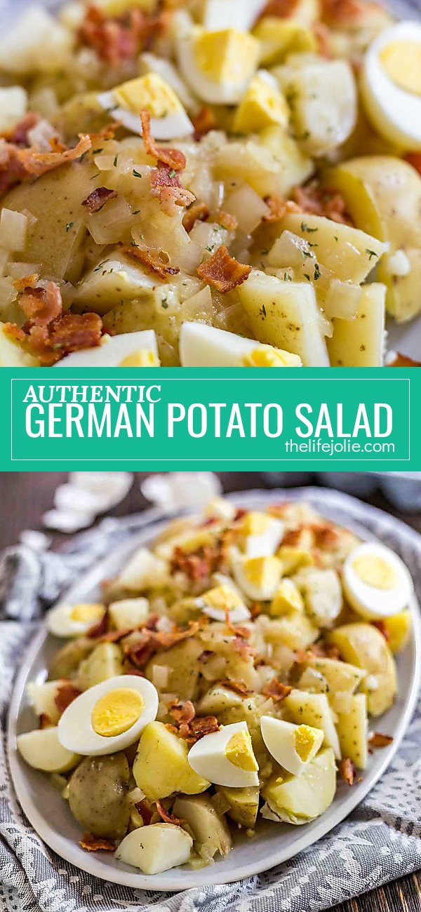 This authentic German Potato Salad is an easy family favorite that's perfect for a picnic or gathering. It tastes great cold or warm and is topped with bacon and hard boiled eggs- this is a classic that the whole family will love!