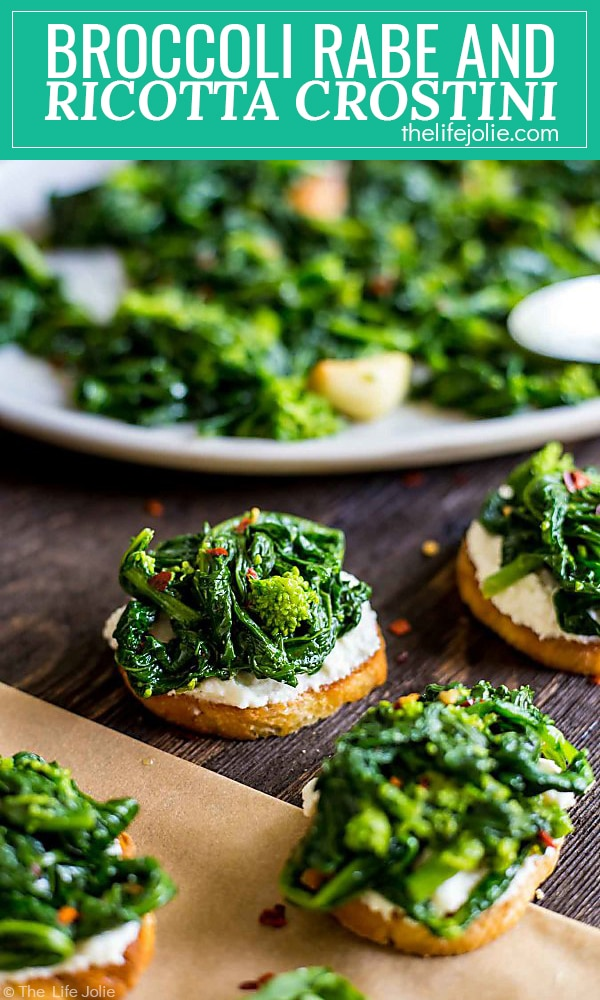 This Broccoli Rabe and Ricotta Crostini is a simple and delicious throw-together appetizer. It's easy to make at the last minute with great garlic and spicy flavor!