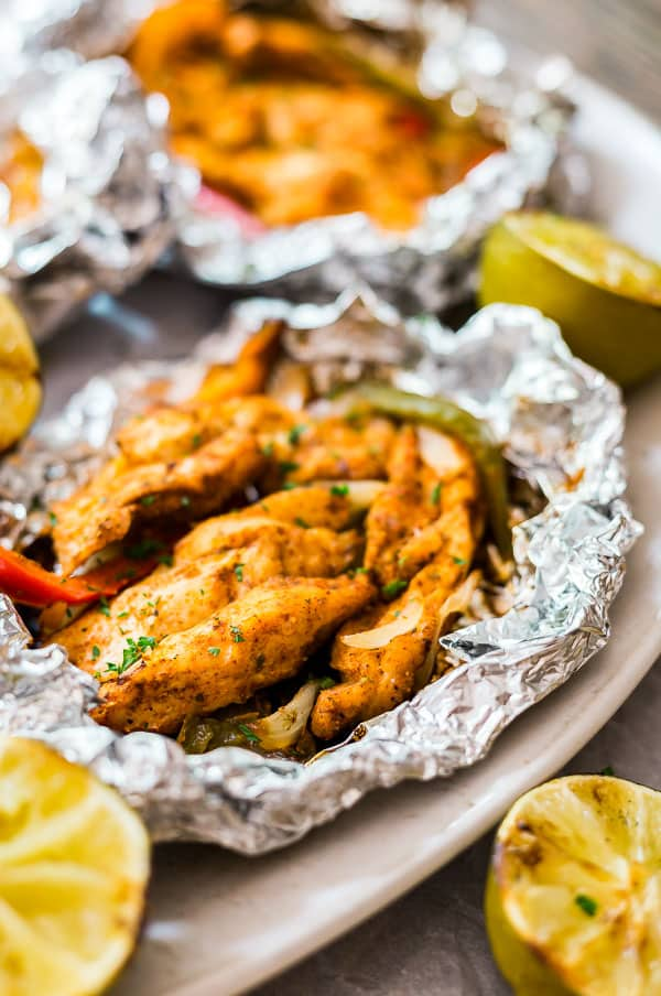 An image focusing on one of the packets of Foil Packet Chicken Fajitas.