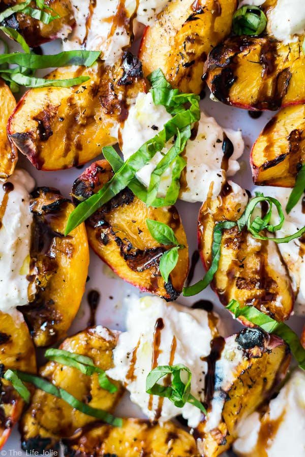 An over head, close up shot of the Grilled Peaches and Burrata Salad.