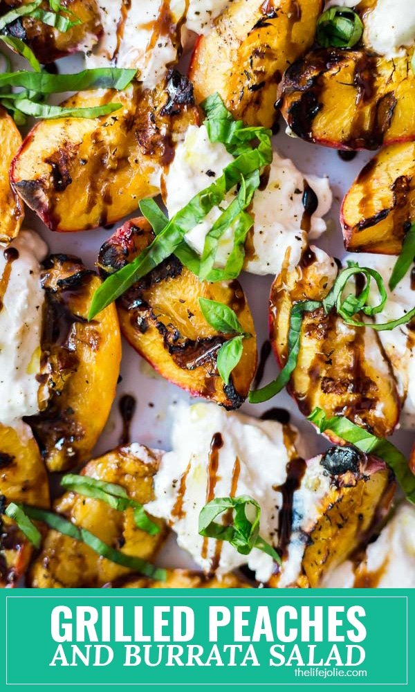 This Grilled Peaches and Burrata Salad recipe is an easy twist on a traditional Caprese salad. It's super simple to throw together with peaches, Burrata cheese, basil and balsamic vinegar and is a light and delicious appetizer or side dish for the summer!