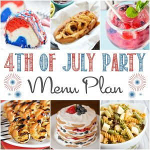 A square image of the recipes in the 4th of July Party Menu