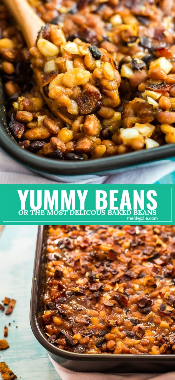 This recipe for the Most Delicious Baked Beans is the best quick and easy recipe for a crowd! Made with brown sugar, bacon and tons of different varieties of beans, they bake up perfectly in the oven and no one will be able to resist going in for seconds!