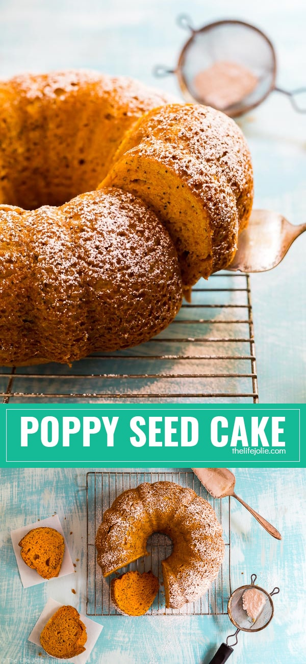 This Poppy Seed Cake is so easy and completely addictive! It's perfect to throw together at the last minute for a gathering or the holidays and the results are moist and delicious. Your guests will never know it's a cake mix hack!