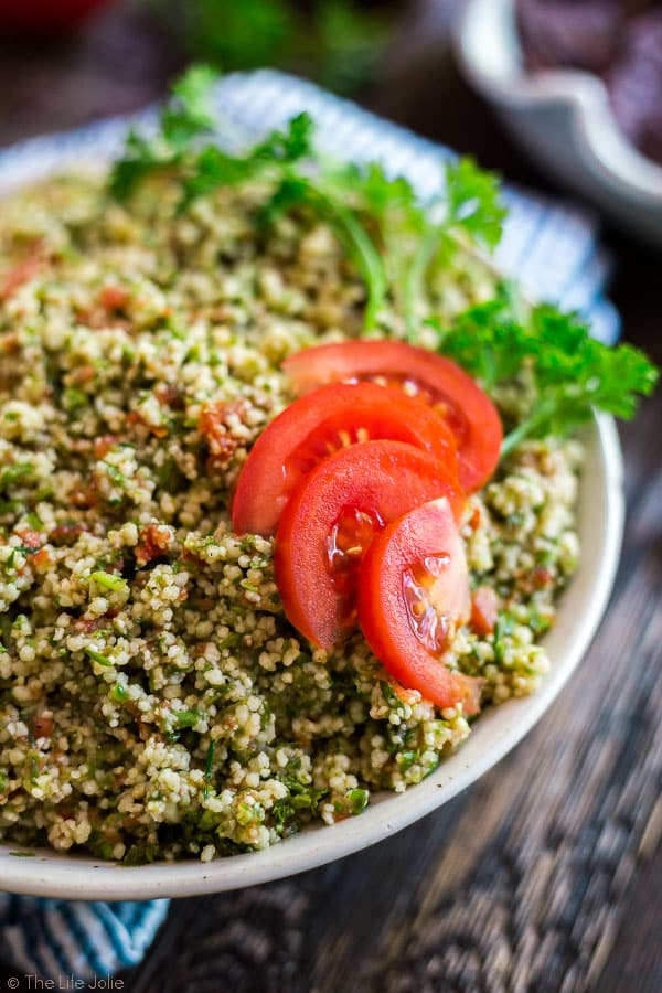 A closer image of the right side of a bowl of Easiest Ever Tabouli.