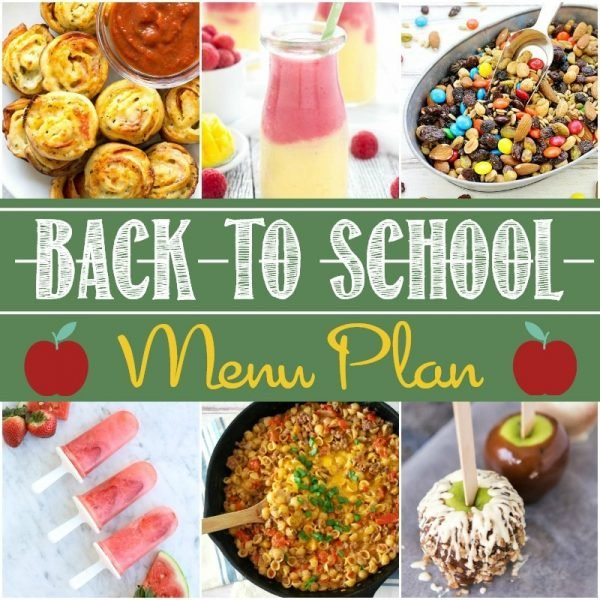 A square image of the recipes in the Ultimate Back to School Party Menu plan.